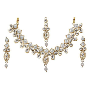 Tiptop Fashions  Charms Stone Pearl Necklace Set With Maang Tikka  -  Imitation Jewellery - 1103619 - 11036