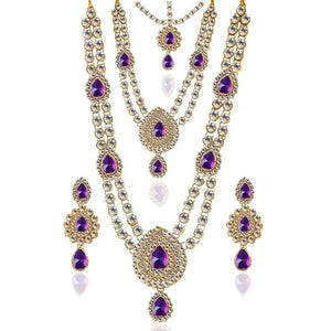Tiptop Fashions  Charms Glass Stone Necklace Set With Maang Tikka  -  Imitation Jewellery - 1103607 - 11036