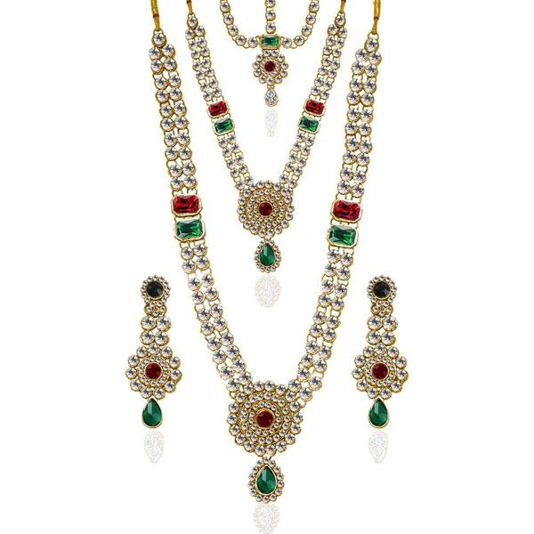 Tiptop Fashions  Charms Glass Stone Necklace Set With Maang Tikka  -  Imitation Jewellery - 1103613 - 11036