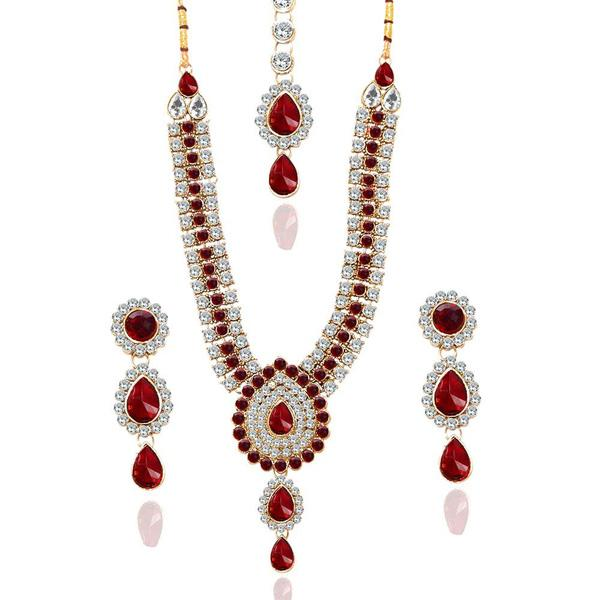 Tiptop Fashions  Charms Glass Stone Necklace Set With Maang Tikka  -  Imitation Jewellery - 1103602 - 11036