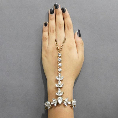 Tiptop Fashions  Pearls Gold Plated Glass Stone Chain Hand Harness - Tiptop Fashions