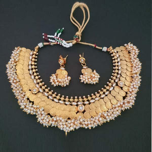 Tip Top Fashions Temple Coin Copper Pearl Necklace Set - FAP0041A