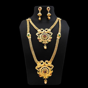 Tiptop Fashions Gold Plated Pota Stone Double Necklace Set - FAP0122