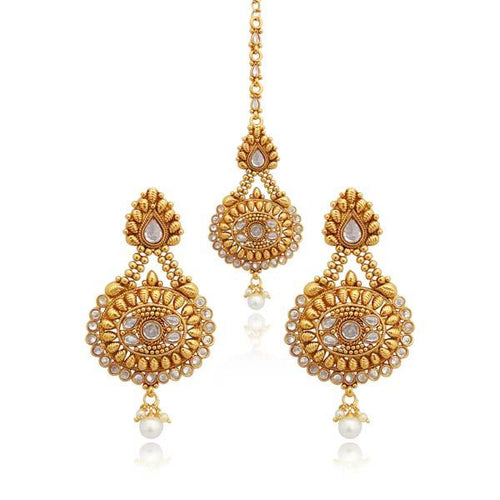 Tiptop Fashions AD Stone Copper Earrings With Maang Tikka - FAP0164A