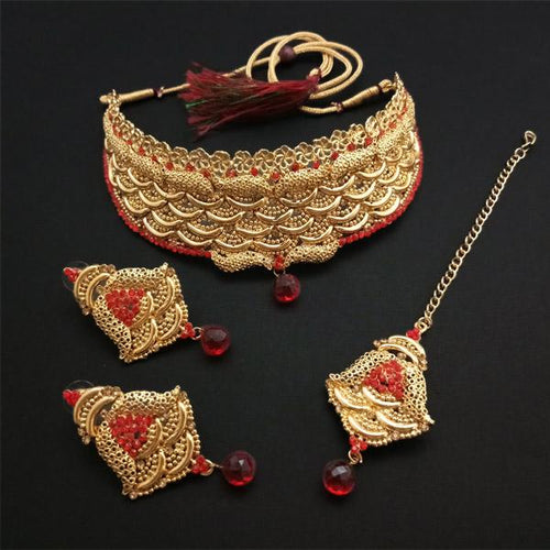 Tiptop Fashions Creation Red Stone Gold Plated Choker Necklace Set - FBD0002B