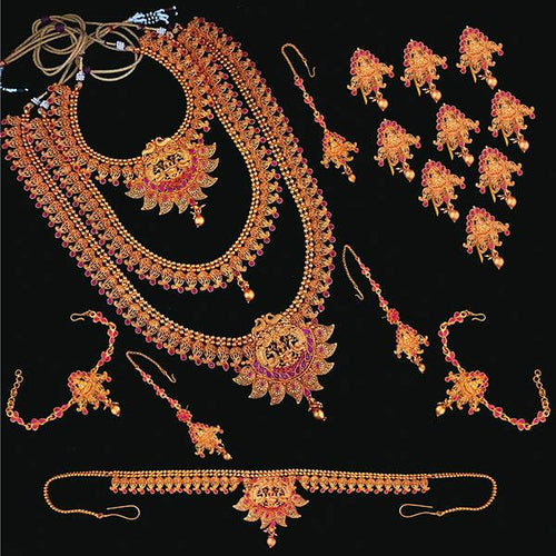 Tiptop Fashions Pota Stone Copper Bridal Jewellery Set - FBK0004