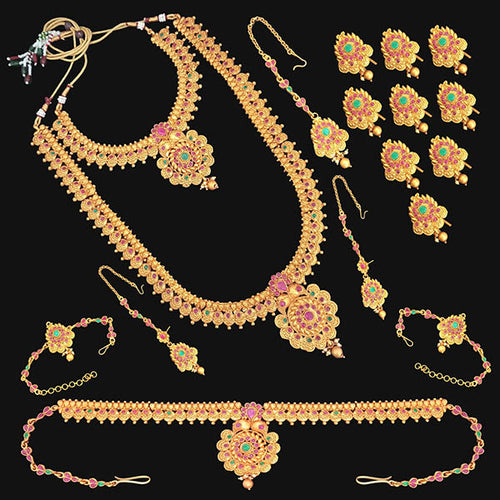 Tip Top Fashions Pota Stone Copper Bridal Jewellery Set - FBK0079B
