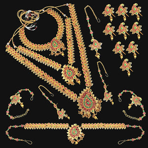 Tip Top Fashions Pota Stone Copper Bridal Jewellery Set - FBK0090B