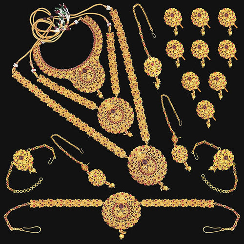 Tip Top Fashions Pota Stone Copper Bridal Jewellery Set - FBK0091A