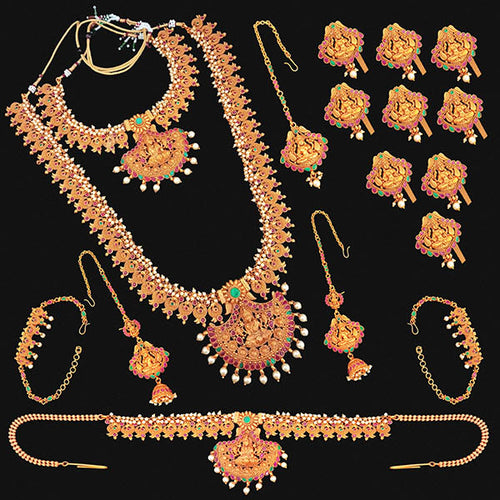 Tip Top Fashions Pota Stone Copper Bridal Jewellery Set - FBK0096