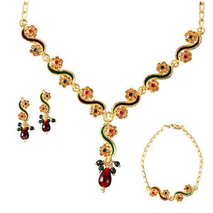 Tiptop Fashions  Gold Plated Stone Necklace Set With Bracelet  -  Imitation Jewellery - 1100803 - 11008