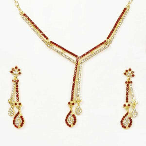 Tiptop Fashions  Gold Plated Maroon Austrian Stone Necklace Set  -  Imitation Jewellery - 1101321 - 11013