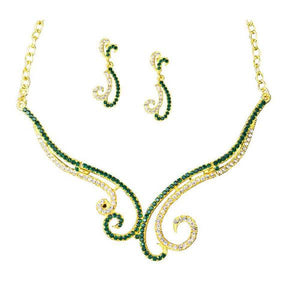 Tiptop Fashions  Green & White Austrian Stone Necklace Set  -  Imitation Jewellery - 1101325 - 11013