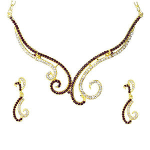 Tiptop Fashions  Purple Austrian Stone Gold Plated Necklace Set  -  Imitation Jewellery - 1101326 - 11013