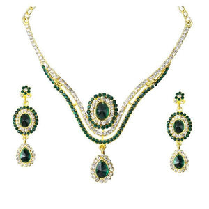 Tiptop Fashions  Green Stone Drop Gold Plated Necklace Set  -  Imitation Jewellery - 1101330 - 11013