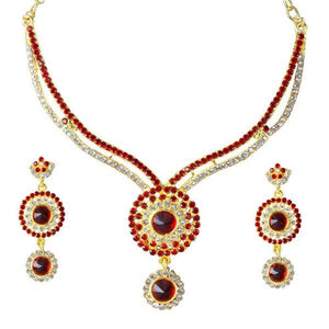 Tiptop Fashions  Maroon Austrian Stone Gold Plated Necklace Set  -  Imitation Jewellery - 1101341 - 11013
