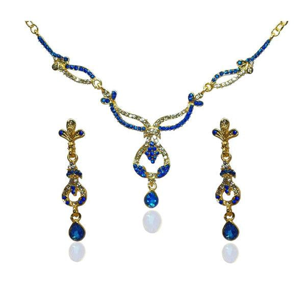 Tiptop Fashions  Gold Plated Blue Austrian Stone Necklace Set  -  Imitation Jewellery - 1103902 - 11039