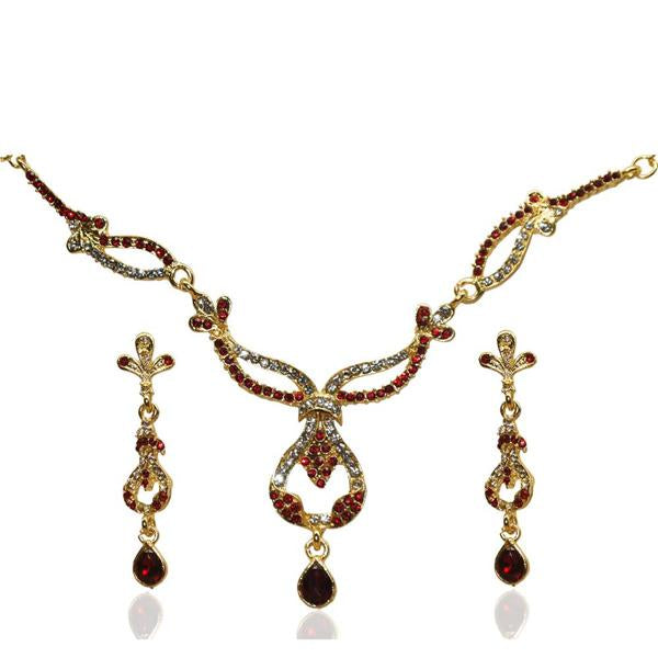 Tiptop Fashions  Gold Plated Red Austrian Stone Necklace Set  -  Imitation Jewellery - 1103905 - 11039