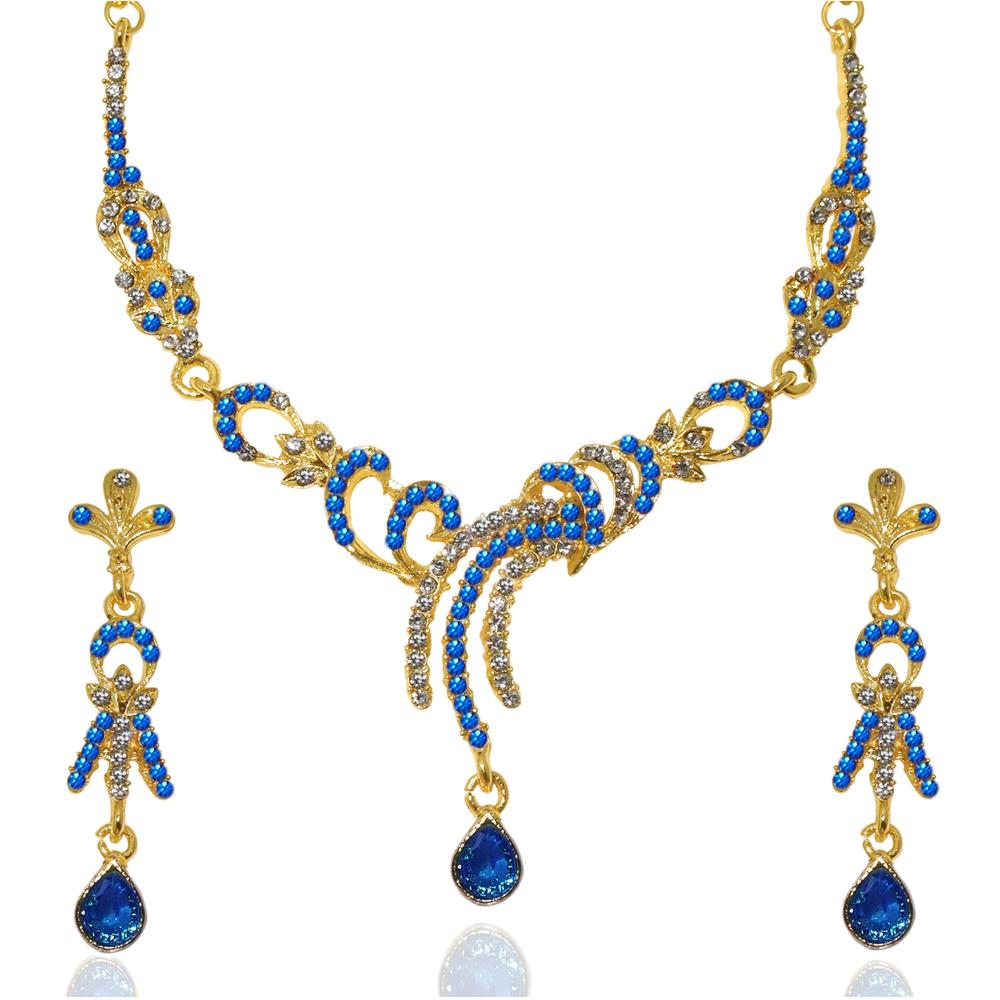 Tiptop Fashions  Blue Austrian Stone Gold Plated Necklace Set - Tiptop Fashions