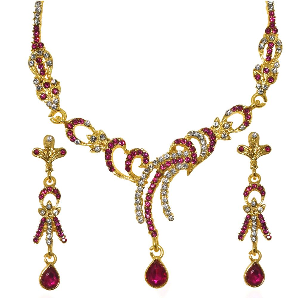 Tiptop Fashions  Pink Austrian Stone Gold Plated Necklace Set - Tiptop Fashions