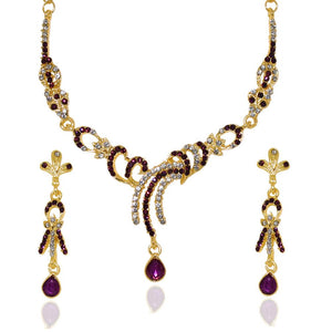 Tiptop Fashions  Purple Austrian Stone Gold Plated Necklace Set - Tiptop Fashions