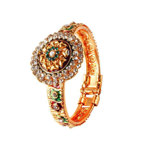 Tiptop Fashions  Green And Red Meenakari Austrian Stone Floral Kada - Tiptop Fashions
