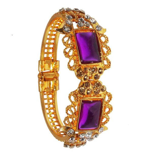 Tiptop Fashions  Purple Meenakari Austrian Stone Gold Plated Kada - Tiptop Fashions