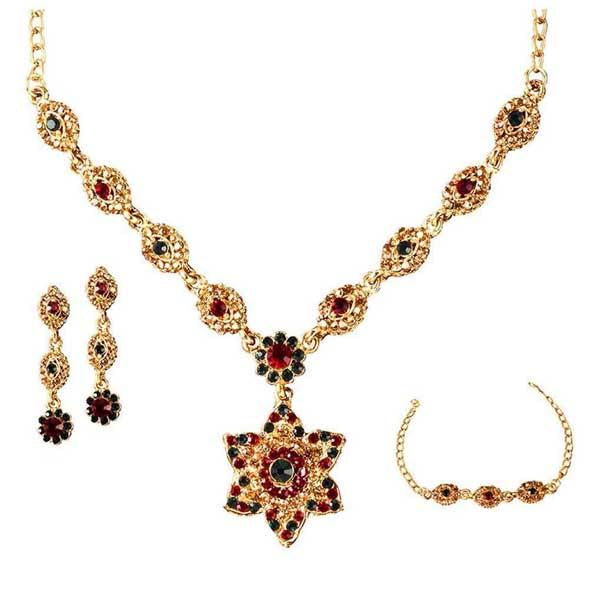 Tiptop Fashions  Red Stone Necklace Set With Bracelet  -  Imitation Jewellery - 1100805 - 11008