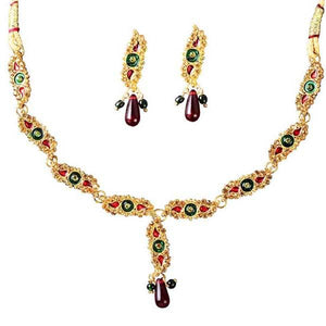 Tiptop Fashions  Meenakari Austrian Stone Necklace Set  -  Imitation Jewellery - 1100809 - 11008