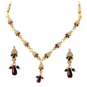 Tiptop Fashions  Stone Meenakari Gold Plated Necklace Set  -  Imitation Jewellery - 1100811 - 11008
