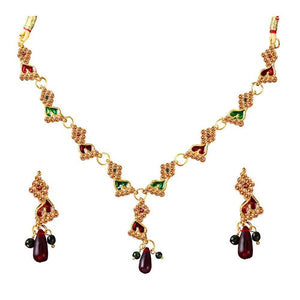 Tiptop Fashions  Maroon & Green Austrian Stone Necklace Set  -  Imitation Jewellery - 1100813 - 11008