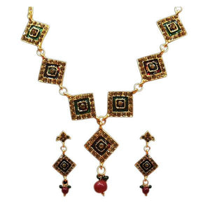 Tiptop Fashions  Gold Plated Stone Meenakari Stone Necklace Set  -  Imitation Jewellery - 1100816 - 11008