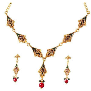 Tiptop Fashions  Meenakari Stone Gold Plated Necklace Set  -  Imitation Jewellery - 1100819 - 11008
