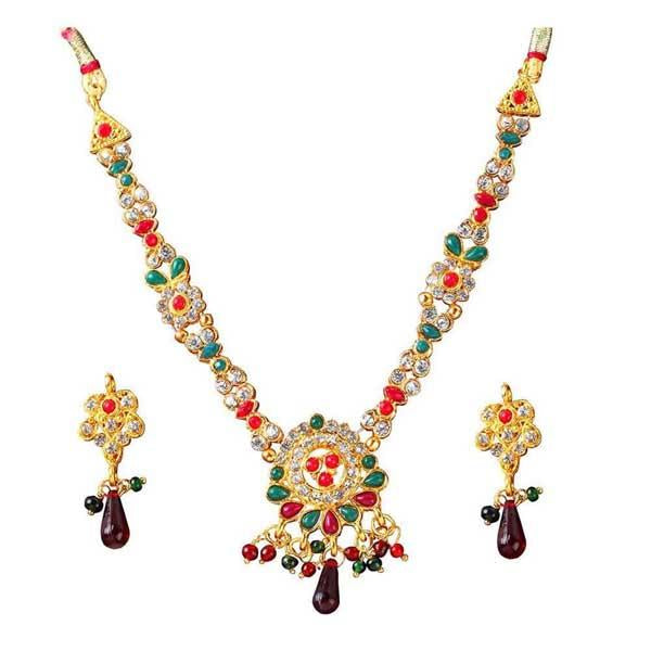 Tiptop Fashions  Green & Red Kundan Stone Necklace Set  -  Imitation Jewellery - 1100824 - 11008