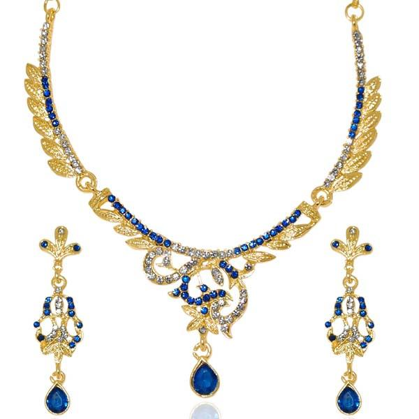 Tiptop Fashions  Blue Austrian Stone Gold Plated Necklace Set  -  Imitation Jewellery - 1103921 - 11039