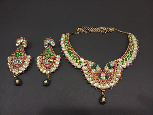 Tiptop Fashions  Maroon And Green Stone And Kundan Necklace Set  -  Imitation Jewellery  - 2101805 - 21018