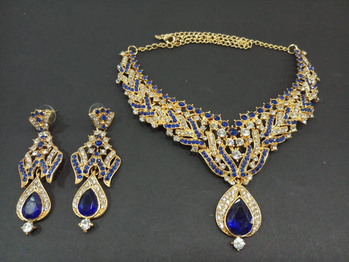 Tiptop Fashions  Blue Austrian Stone Necklace Set  -  Imitation Jewellery  - 2101704 - 21017