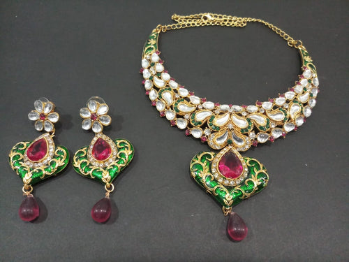 Tiptop Fashions  Pink And Green Stone Kundan Necklace Set  -  Imitation Jewellery  - 2100502 - 21005