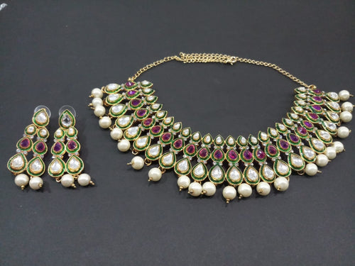 Tiptop Fashions  Red Stone Kundan Necklace Set  -  Imitation Jewellery  - 2101701 - 21017