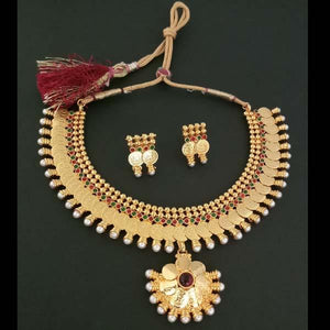 Tip Top Fashions Copper Pearl Temple Coin Necklace Set - FAP0044