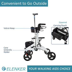 "HFK-9211 Rollator Walker with Seat, Rolling Mobility Walking Aid, Shock Absorber and Carrying Pouch, Compact Folding Design, Fits for Elderly from 5'2""-6'5"", Supports up to 350 LBS"