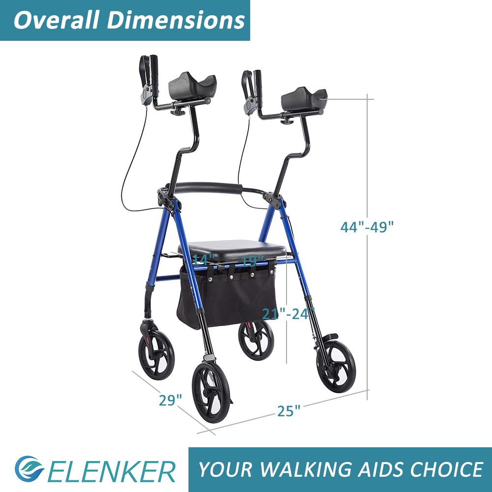 "HFK-9236 Tall Upright Walker Forearm Rollator Walker Stand Up Rolling Walker with Padded Seat and Backrest for Seniors from 5'6"" to 6'3"""