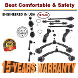 12pc Front Upper Control Arm Tie Rod Ball Joint Pitman Idler Arm 4x4 4WD 6-Lug - 15 YR WARRANTY | 69325125
