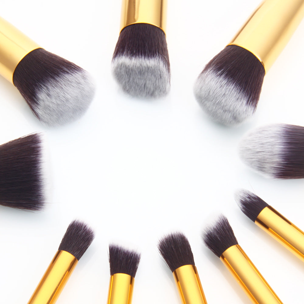 10pcs High-quality Professional Cosmetic Makeup Brushes Set Black & Golden | 57390617