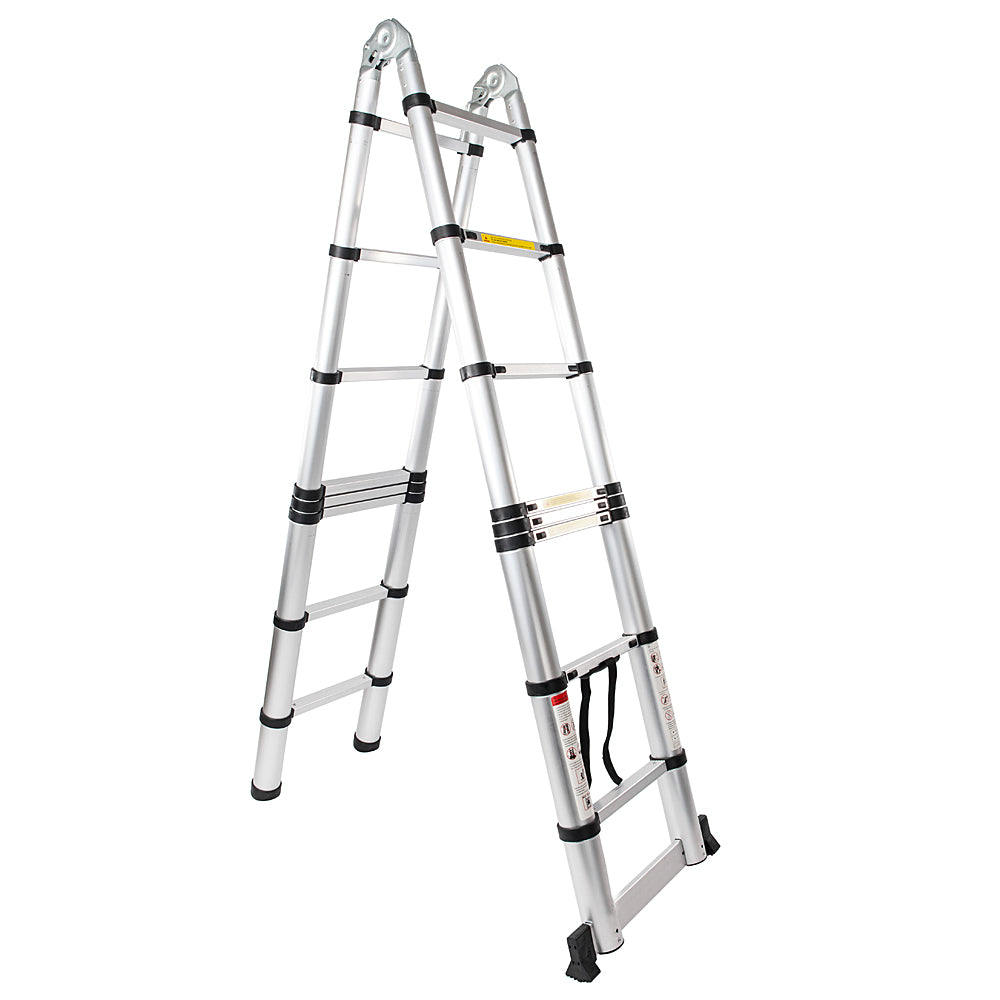 16-Step Dual Joints Aluminum Stretchable Ladder Black & Silver | 45069540