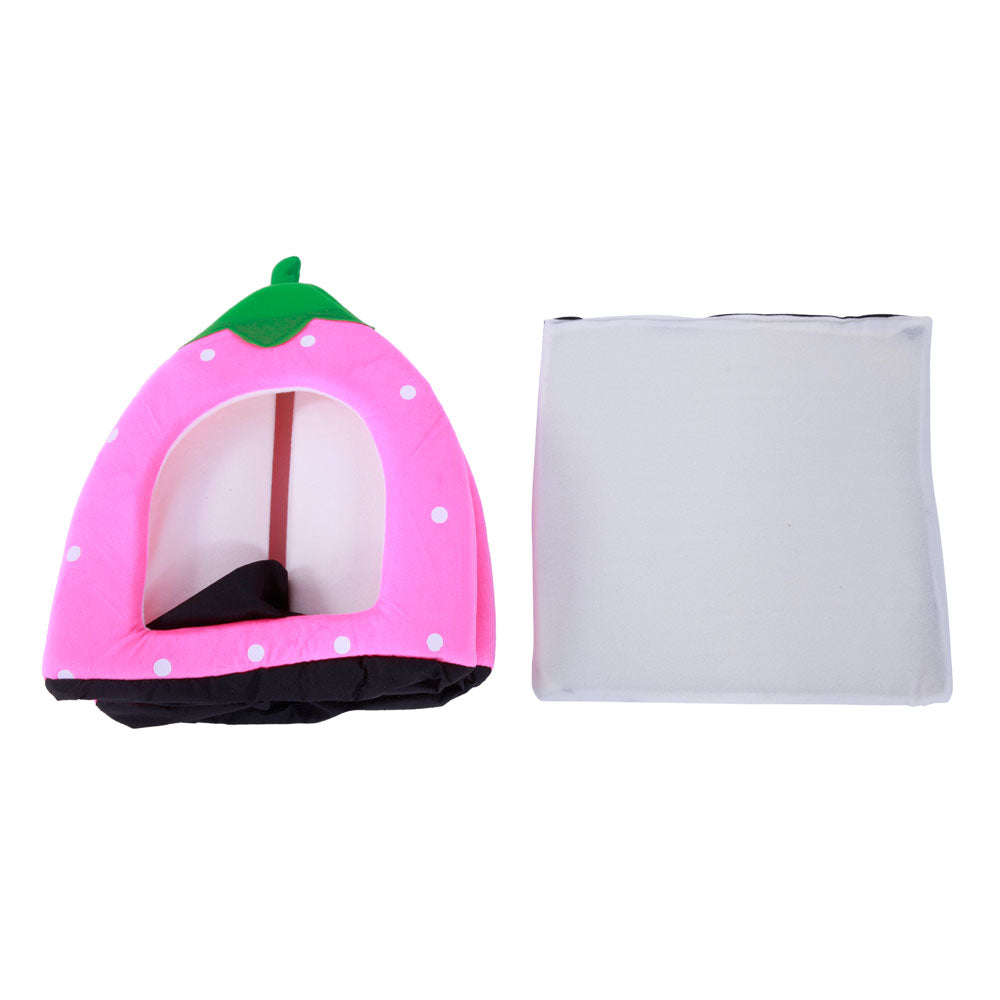 Soft Cotton Cute Strawberry Style Multi-purpose Pets Dog Cat House Nest Yurt Size L Pink | 41061281
