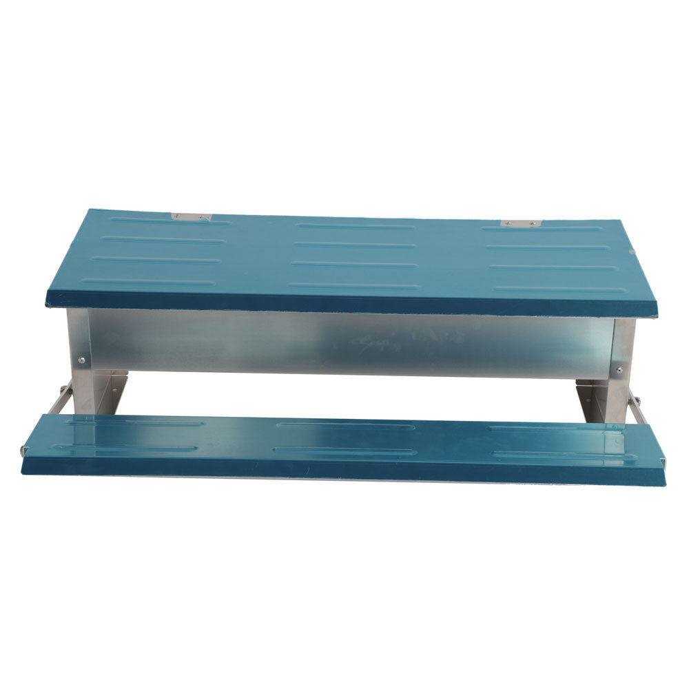 Automatic Chicken Feeder Treadle Self Open Aluminum Feeder Feeding Trough Blue & Silver | 76826975