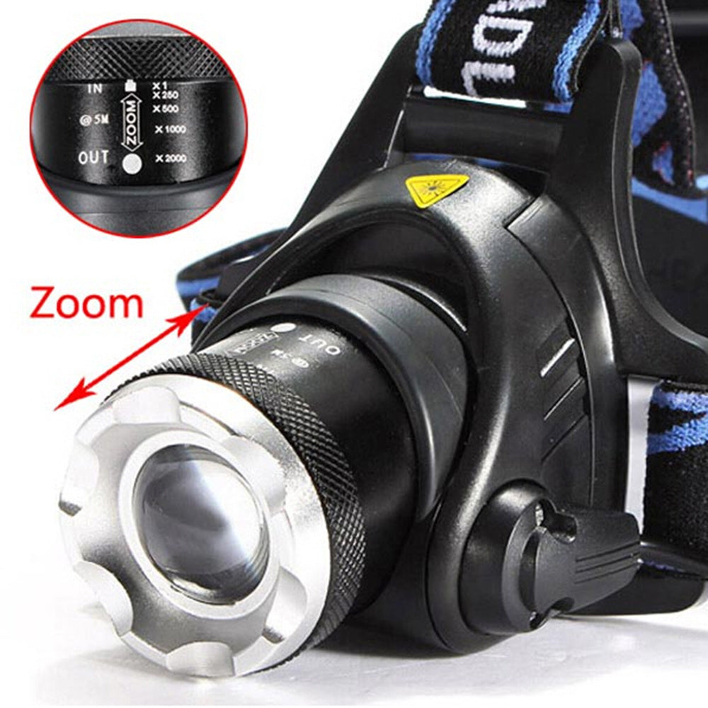 1800lm Middle Switch White Light Stretchable Headlamp Suit with US AC Adapter & 18650 Batteries Blue | 53131087