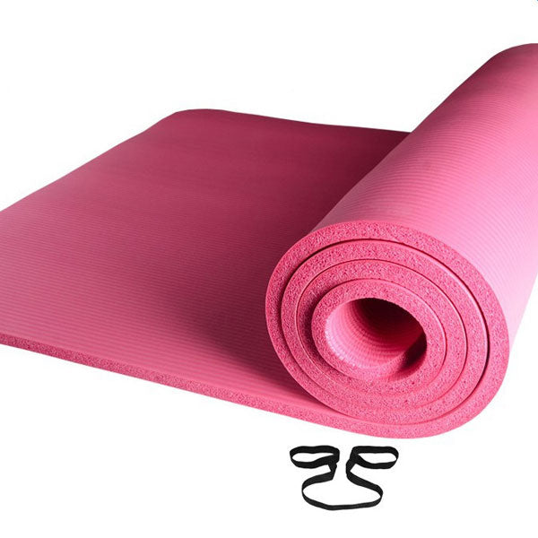 10mm Thick NBR Pure Color Anti-skid Yoga Mat 183x61x1cm Pink | 63690936