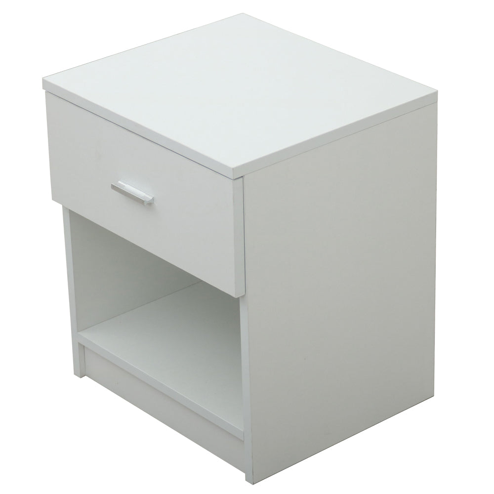 1 Drawer Metal Handle Bedside Cabinet Night Table White | 32034703